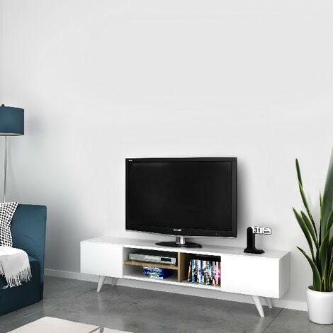 Meuble TV Dore Moderne - avec Portes, etageres - pour Salon - Blanc, Noyer en Bois, 160 x 29,7 x 40,6 cm