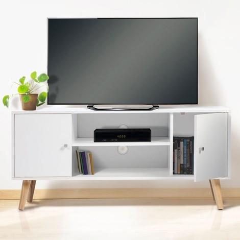 Meuble TV EFFIE scandinave 2 portes bois blanc