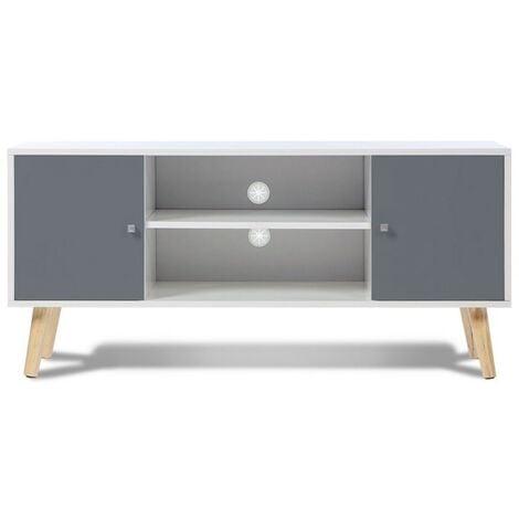 meuble tv effie scandinave 2 portes bois blanc et gris 12937. Black Bedroom Furniture Sets. Home Design Ideas