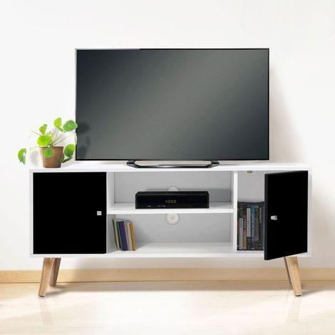 Meuble TV EFFIE scandinave bois blanc et noir