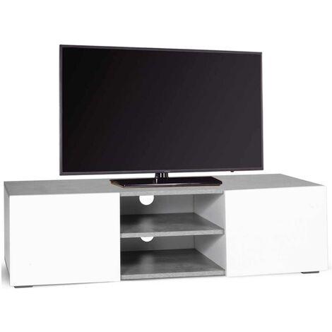 Meuble TV ELI portes blanches plateau effet béton