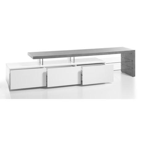 grossiste 7ad52 6da50 Meuble TV en blanc mat et decor beton avec 3 tiroirs - L204 x H40 x P40 cm  -PEGANE-