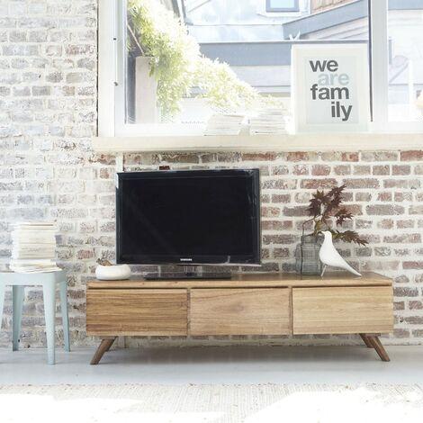 Meuble TV en bois de mindy 3 tiroirs abattants - Naturel