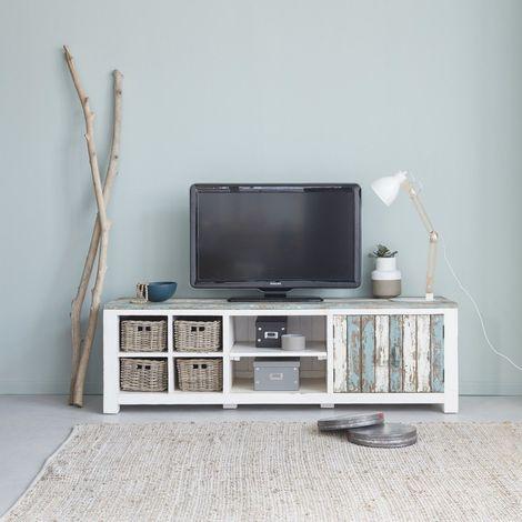 Meuble TV noir et bois brut recyclé 4 tiroirs