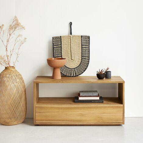 Meuble TV en bois de teck 1 tiroir - Naturel