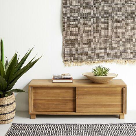 Meuble TV en bois de teck 2 portes - Naturel