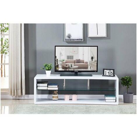 Meuble TV en bois laqué blanc - Etagére en verre - L 140 x P 40 x H 45 cm