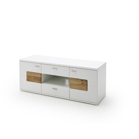 Meuble Tv En Chêne Sauvage Massif Coloris Laqué Blanc Mat L140 X H57 X P50 Cm Pegane