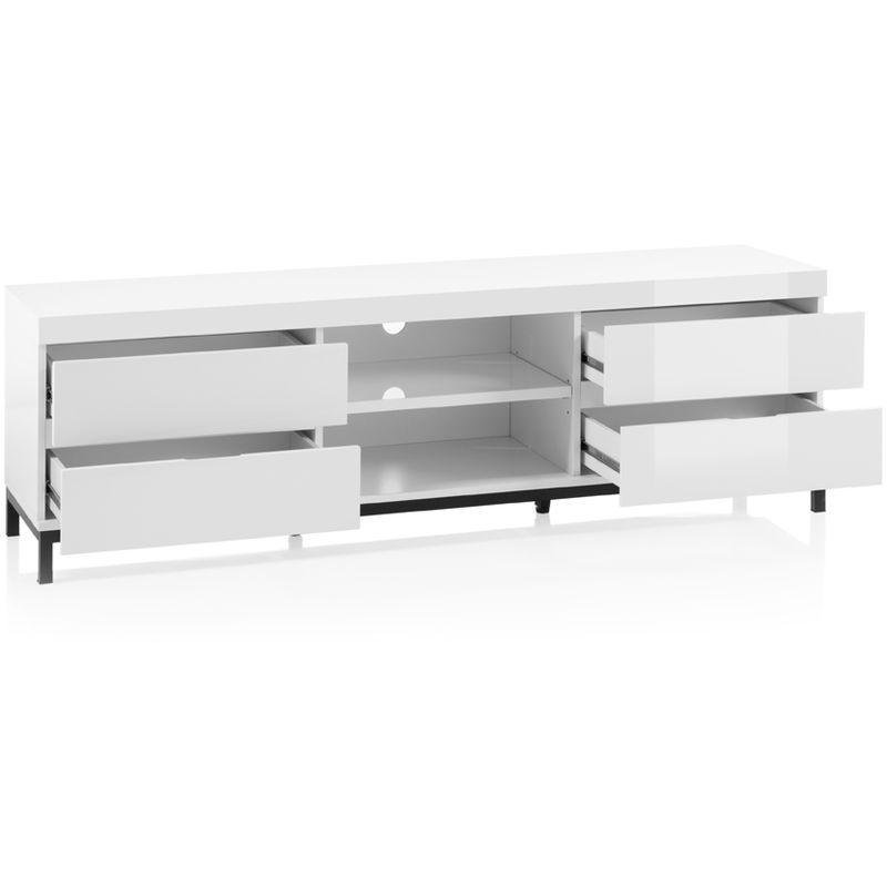 L79 x H35 x P39 cm PEGANE Meuble TV d/écor Blanc et Noir avec roulettes