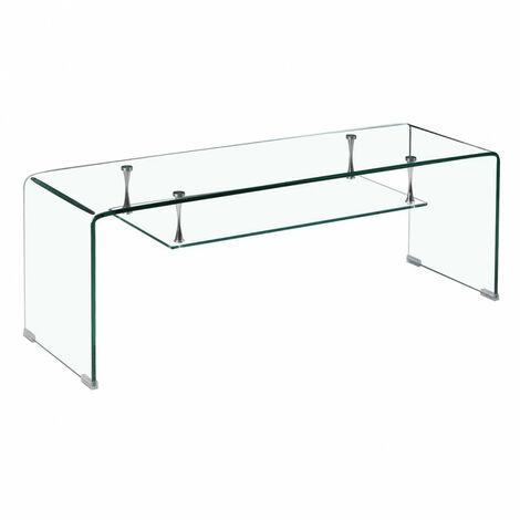 Meuble TV en verre transparent étagère suspendue style épurée - ICE - Transparent