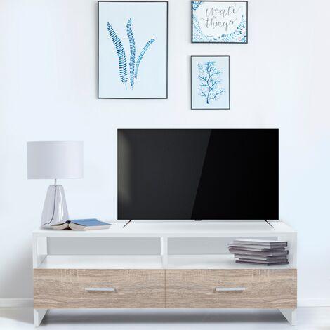 Meuble TV FALKO bois blanc et imitation hêtre