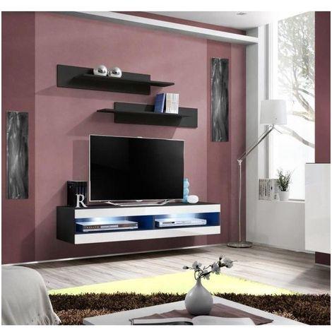 Meuble TV FLY design, coloris noir et blanc brillant. Meuble suspendu  moderne et tendance pour votre salon.