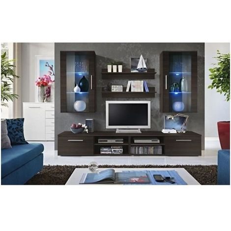 Meuble TV GALINO G design, coloris wengé. Meuble moderne et tendance pour  votre salon.