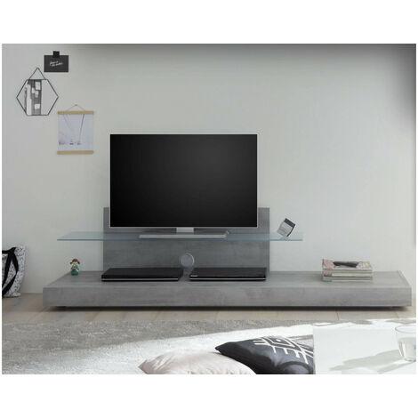 Meuble TV Gris avec une étagère en verre TRATTO