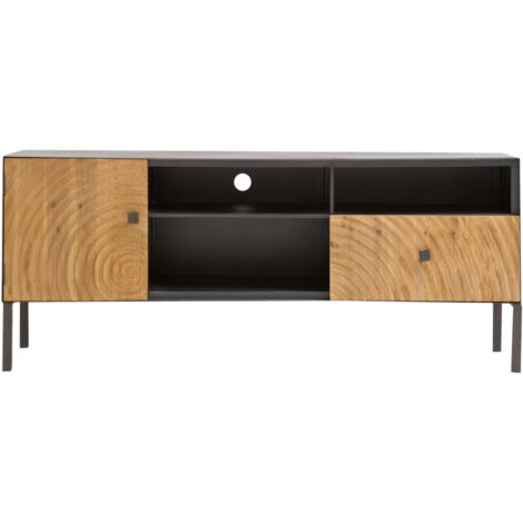 Meuble tv industriel 1 porte 1 tiroir rondin de bois - Métal grise