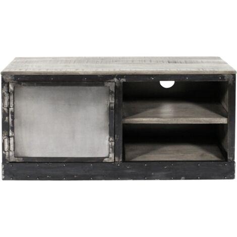 Meuble TV industriel patine grise, 1 porte, 2 niches plinthe métal - Noir