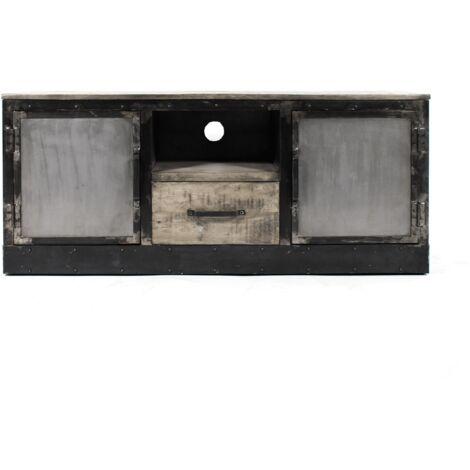 Meuble TV industriel patine grise, 2 portes, 1 tiroir, 1 niche plinthe métal - Noir