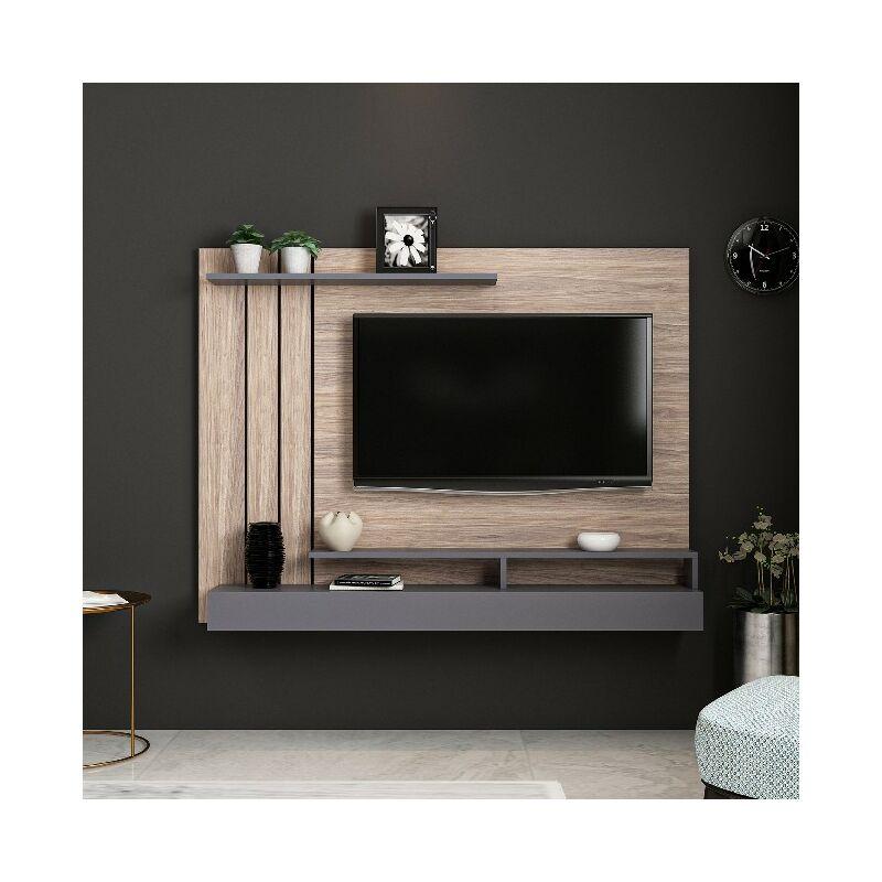 Meuble Tv Lawrance Moderne Murale Avec Etageres Pour Salon Anthracite En Bois 157 X 21 X 120 Cm Hio8681285956576