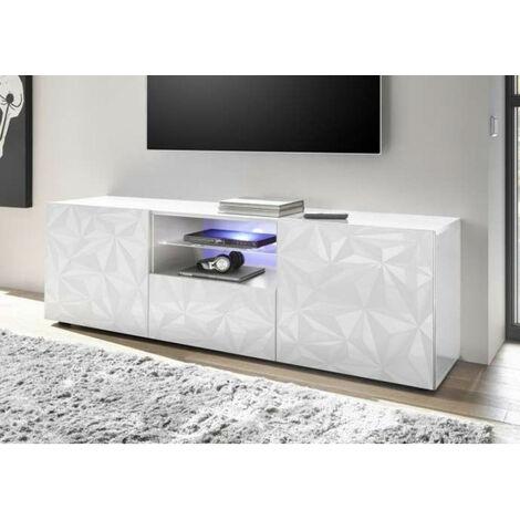 Meuble Tv LUTHER 2 portes 1 tiroir blanc 181x57 cm - Blanc