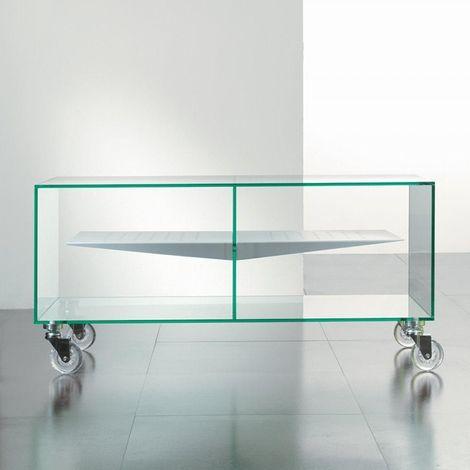 Meuble TV MALTA en verre étagère centrale blanche - transparent