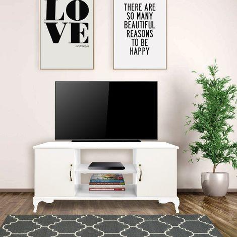 Meuble TV Menekse - Moderne - avec portes, etageres, tablettes - du salon - Blanc en Panneau de particules de melamine, plastique, 111 x 40 x 57 cm
