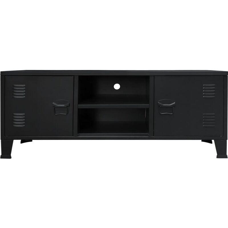 Meuble Tv Metal Style Industriel 120 X 35 X 48 Cm Noir