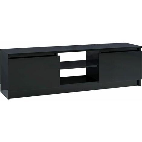 Meuble TV Noir brillant 120x30x35,5 cm Aggloméré