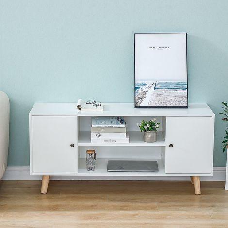 Meuble TV scandinave décor blanc + pieds en bois eucalyptus - L 116 cm
