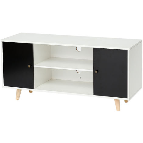 meuble tv scandinave pieds en bois gris fonc et blanc. Black Bedroom Furniture Sets. Home Design Ideas