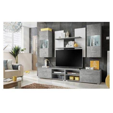 Meuble TV SPARKO 220 cm en plusieurs couleurs - Couleur: Gris - Gris