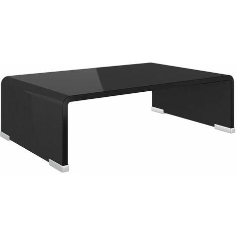 Meuble TV/ Support pour moniteur 40 x 25 x 11 cm Verre Noir