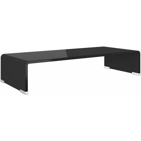 Meuble TV/ Support pour moniteur 60 x 25 x 11 cm Verre Noir