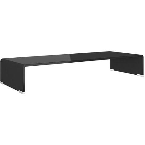 Meuble TV/ Support pour moniteur 80 x 30 x 13 cm Verre Noir