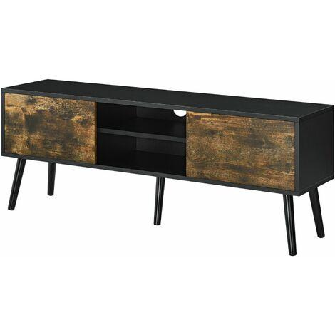 Meuble tv support télé 120 cm pieds en bois revêtement pvc noir bois foncé - Bois
