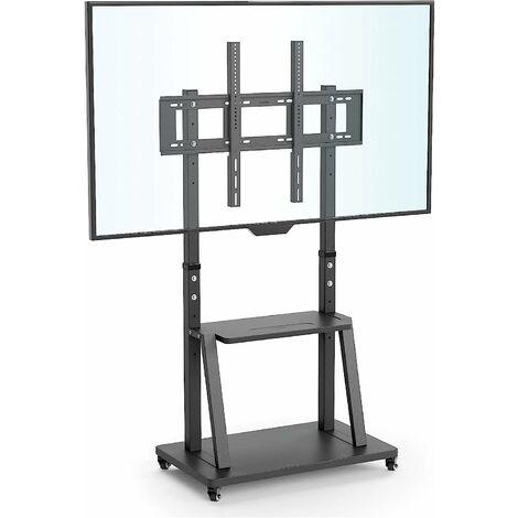 Meuble TV sur Pied pour Écrans de 32-100 pouces - Support TV Roulette Hauteur Réglable - Pied TV en Verre Trempé - Charge 80kg VESA 800x600mm