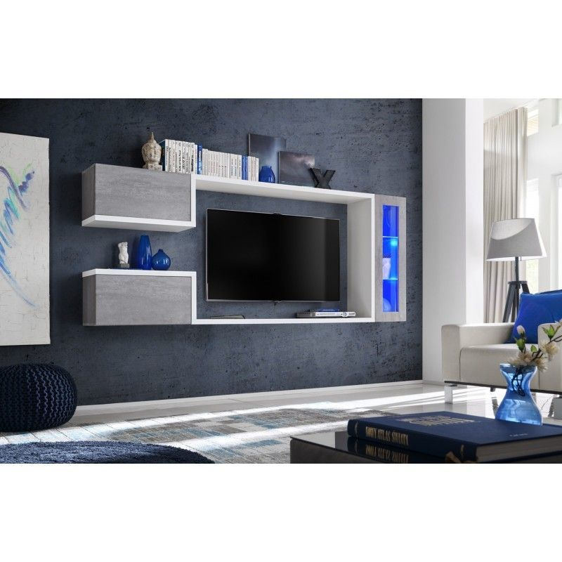 Composition Murale Tv Meuble Tv Suspendu Pour Salon:  Meuble Tv Suspendu , Meuble De Salon Complet SATURNE