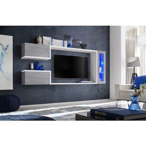 Meuble tv suspendu, meuble de salon complet SATURNE. Composition murale moderne et design. LED incluses - Blanc