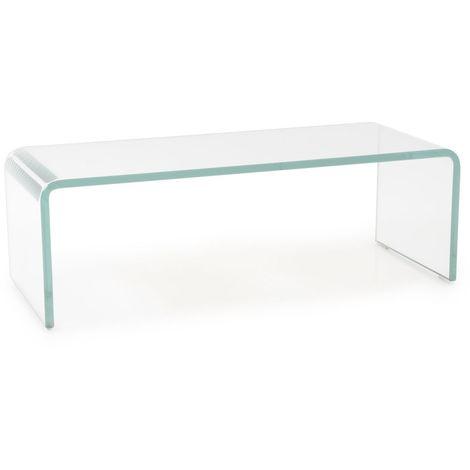 """main image of """"Meuble TV verre haut moniteur colonne montante verre bombé transparent 60cm HAGEN B153048-1"""""""