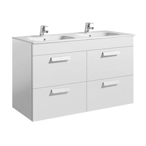 Meuble Unik DEBBA 1200 - 4 tiroirs + lavabo - Blanc brillant
