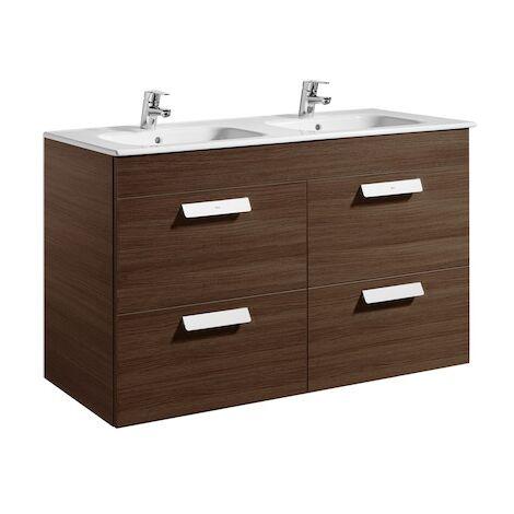 Meuble Unik DEBBA 1200 - 4 tiroirs + lavabo - Wengé texturé