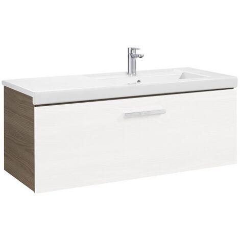 Meuble Unik PRISMA 1100 - 1 tiroir + lavabo à droite - Blanc brillant