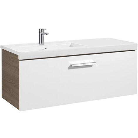Meuble Unik PRISMA 1100 - 1 tiroir + lavabo à gauche - Blanc brillant