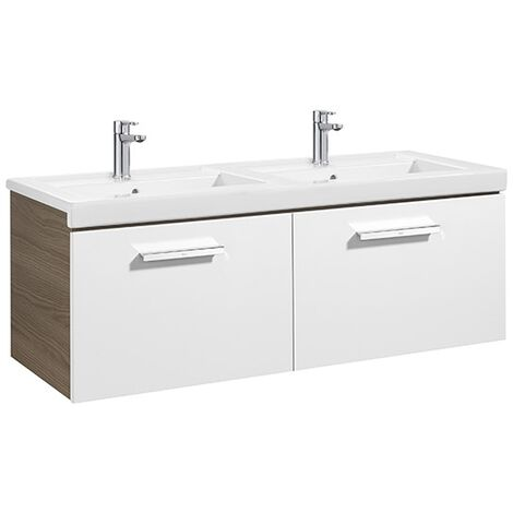 Meuble Unik PRISMA 1200 - 2 tiroirs + lavabo double - Blanc brillant