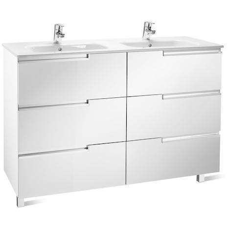Meuble Unik VICTORIA-N Family 1200 - meuble + lavabo - Blanc brillant - Roca