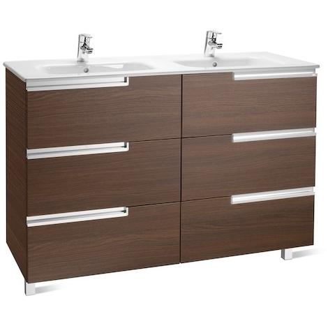 Meuble Unik VICTORIA-N Family 1200 - meuble + lavabo - Wengé texturé - Roca