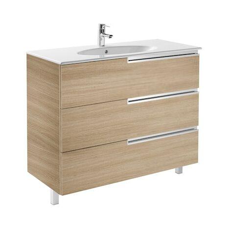 Meuble Unik VICTORIA-N Family oval 1000 - meuble + lavabo - Chêne texturé