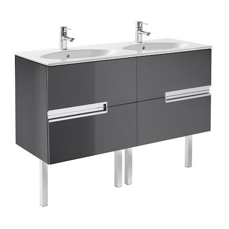 Meuble Unik VICTORIA-N oval 1200 - meuble + lavabo - Gris anthracite
