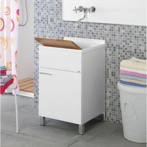 Meuble vasque 45 cm blanc brillant Feridras Mondo 527004 | Laqué blanc