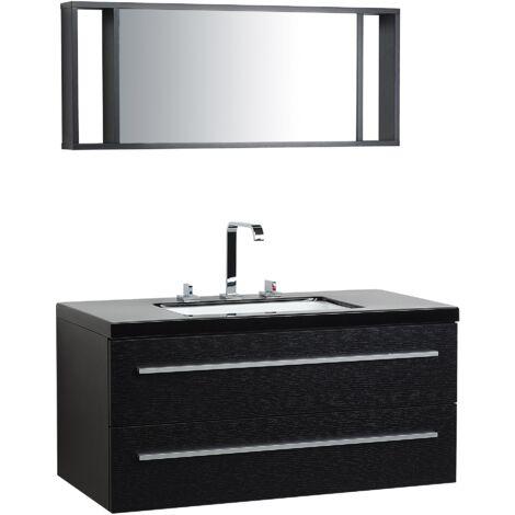 Meuble vasque à tiroirs noir miroir inclus noir Barcelona