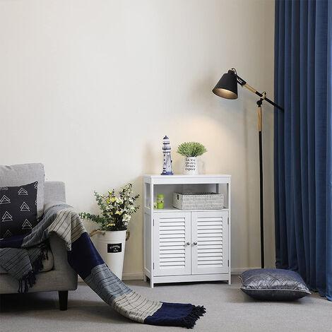 Meuble WC Casier de Salle de Bain Étagères 2 Portes 80×60×30cm BLANC